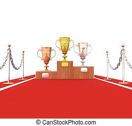 tazza, isolamento, trofei, podio, 3d, moquette rossa