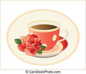 tazza tè, rosa