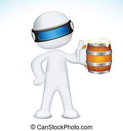 tazza, vettore, birra, uomo, 3d