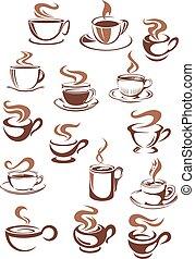 tazze caffè, scarabocchiare, stile, schizzo, campanelle
