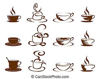 tazze caffè, set, icona