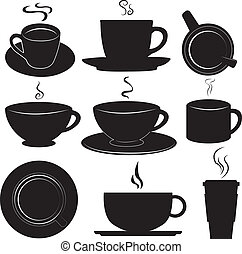 tazze caffè, set, vettore