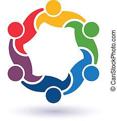 teaming, collegato, persone, 6.concept, altro., felice, porzione, icona, vettore, gruppo, amici, ciascuno