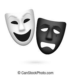 teatrale, commedia, tragedia maschera