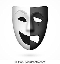 teatrale, maschera commedia, tragedia