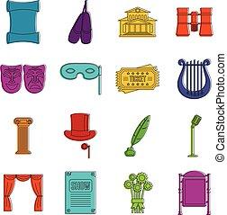 teatro, scarabocchiare, icone, set