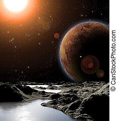 technologies., astratto, pianeta, fonti, futuro, distante, planets., immagine, water., nuovo, trovare, viaggiare