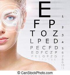 technology), scansione, occhi, donna, laser, lei, optometria, (ophthalmology, occhio
