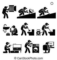 tecnico, idraulico, elettricista