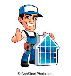 tecnico, pannelli, installatore, solare