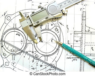 tecnico, righello, digitale, drawing., ingegneria, attrezzi, meccanico, compasso per pelvimetria o craniometria, pencil.