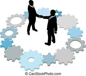tecnologia affari, ingranaggi, affare, persone
