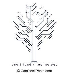 tecnologia amichevole, collegato, concept., eco, albero, wireframe, branches., illustrazione, vettore, creato, linee