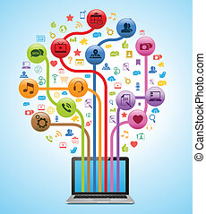 tecnologia, app, albero