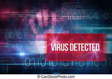 tecnologia, codice, contro, binario, virus, blu, detected, disegno