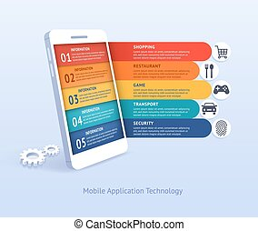 tecnologia, domanda, vettore, illustrations., mobile