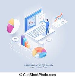 tecnologia, illustration., vettore, analisi, isometrico, affari