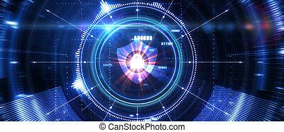 tecnologia, intimità, protezione, affari, concept., 3d, illustration., cyber, sicurezza, dati