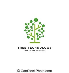 tecnologia, logotipo, vettore, disegno, albero