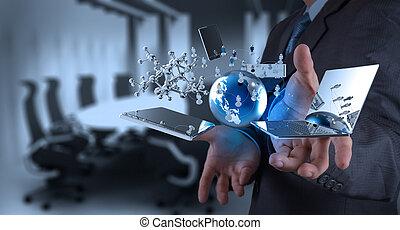 tecnologia, moderno, lavorativo, uomo affari