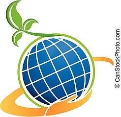 tecnologia, pianta, naturale, globo, icona
