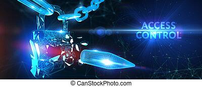 tecnologia, protezione, controllo, affari, intimità, concept., accesso, cyber, integrità dei dati