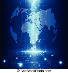 tecnologia, telecom, astratto, globale, vettore, fondo, futuro, elettrico
