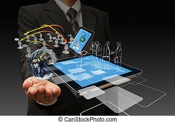 tecnologia, uomini affari, mano