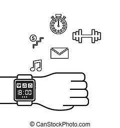 tecnologia, wearable, smartwatch, icone