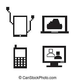 tecnologico, icone, pixel