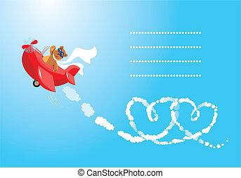 teddy, aviatore, orso, cartoon., divertente