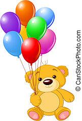 teddy, colorito, presa a terra, orso, palloni