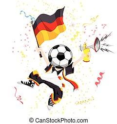 tedesco, calcio, testa, palla, ventilatore
