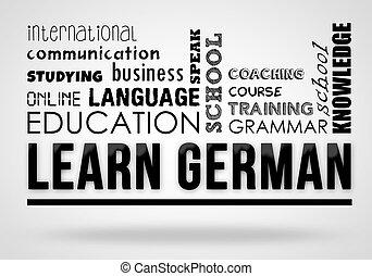tedesco, collage, concetto, -, imparare