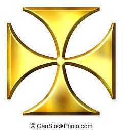tedesco, dorato, croce, 3d
