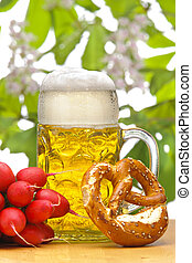 tedesco, ravanello, bavarese, pretzel, monaco, vetro, birra, octoberfest