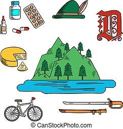 tedesco, simboli, bavarese, viaggiare