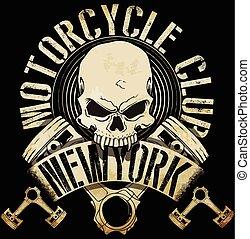 tee, motociclista, vendemmia, emblema, cranio, grafico