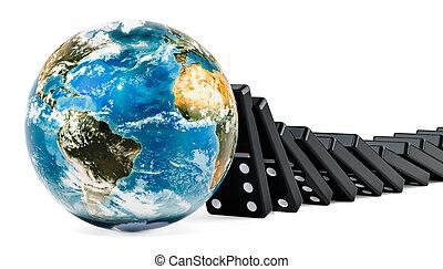 tegole, globo, interpretazione, domino, terra, cadere, 3d