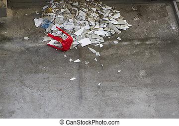 tegole, pavimento, rotto, chair., bianco rosso
