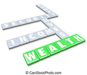 tegole, ricchezza, soldi, lettera, reddito, fabbricazione, parole, crescere