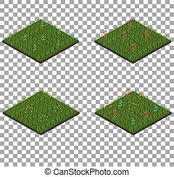 tegole, set, erba, isometrico, fiori
