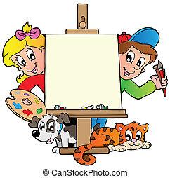 tela, bambini, pittura, cartone animato