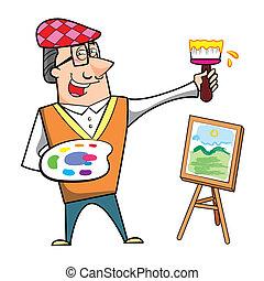 tela, cavalletto, cartone animato, pennello, artista