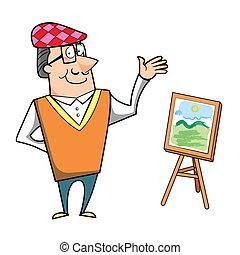 tela, cavalletto, pittura, cartone animato, artista