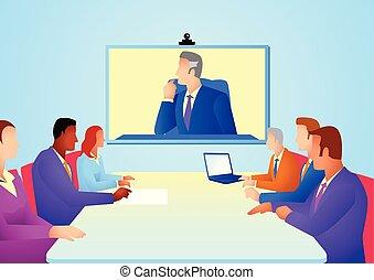 teleconference, riunione, detenere, persone affari