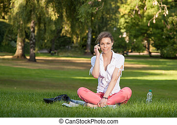 telefonare, donna, giovane, carino
