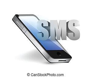 telefonare messaggio, concetto, sms, illustrazione