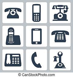 telefonare, vettore, set, isolato, icone