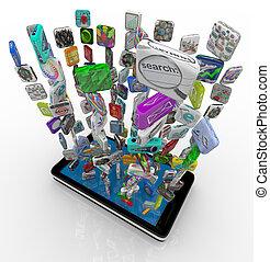 telefono, app, scaricando, far male, icone